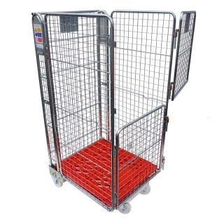 Four Sided Split Gate Plastic Base Mesh Roll Cage