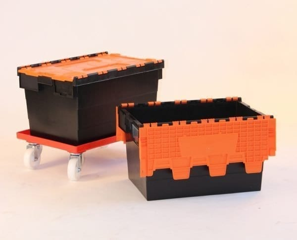 Attached Lid Container Black / Orange
